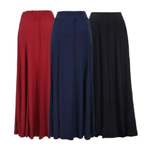 online store exquisite craftsmanship official photos Details about PLUS SIZE PULL ON MAXI SKIRT JERSEY BLACK GREY LONG SKIRT  ELASTICATED UK 10 - 22