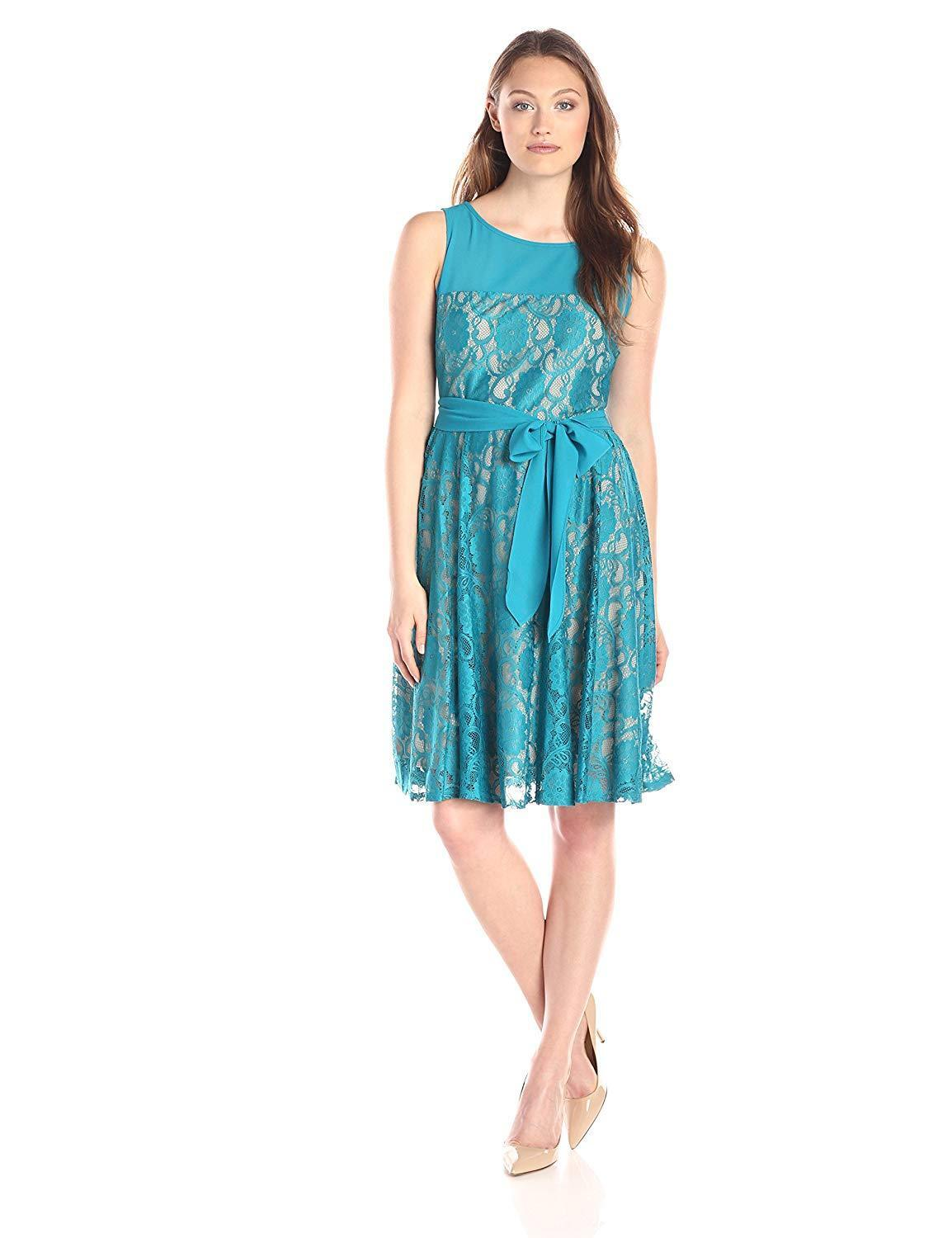 Julian Taylor Women's Lagoon Green Sleeveless Lace Dress with Tie - Size 10