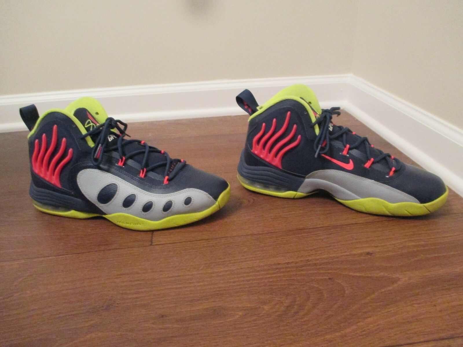 Used Worn Size 11.5 Nike Sonic Flight Shoes Midnight Navy, Hyper Punch, Gray