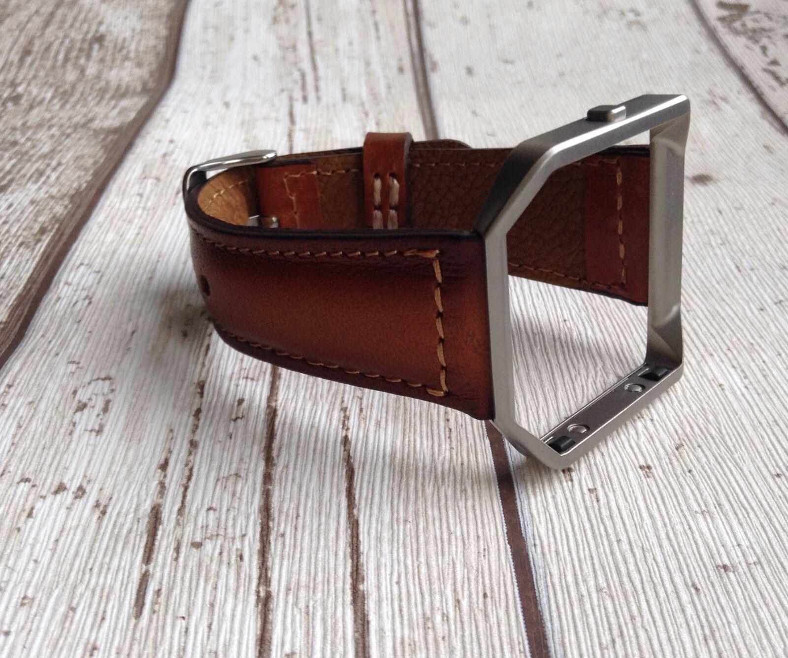 Fitbit Blaze Handmade genuine genuine Handmade Leder watch band strap Tan Braun e5d756