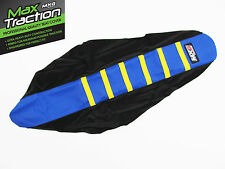 HUSQVARNA HUSKY TE FE 14-16 RIBBED SEAT COVER BLACK + BLUE + YELLOW STRIPES RIBS
