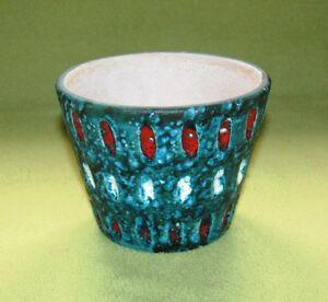 Übertopf Keramik Türkis keramik vase / Übertopf 60/70er jahre stand signiert türkis/rot/weiß
