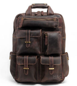 6f1e8ae711 Men s Real Leather Backpack Travel Weekender Laptop Carry On School ...