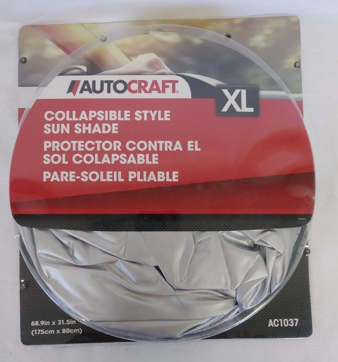 "AUTOCRAFT XL Collapsible Style Sun Shade NEW AC1037 Automotive 68.9/"" X 31.5/"""