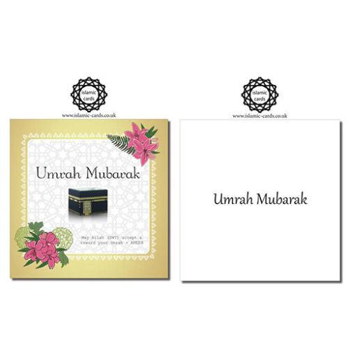 Umra Moubarak Bouquet-UMR006-cartes de vœux 150 x 150 mm