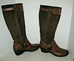 Clarks-Brown-Suede-Leather-Buckle-Strap-Knee-High-Boots-Women-039-s-Sz-9-5-M-EUC