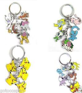 4pcs Pokemon Keychain Psyduck Suicune Lugia Eevee Key Chain Keyring