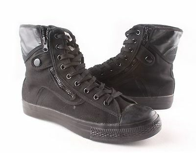 Mens ankle boots military train lace up high top canvas sneaker side zip shoes