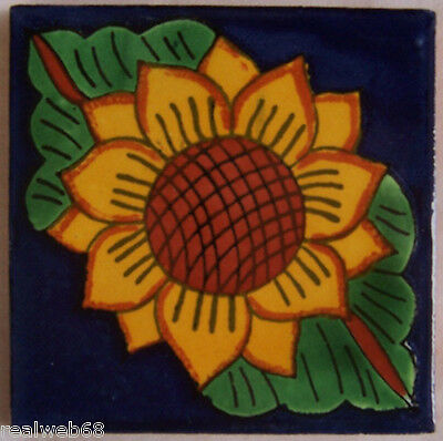 """C045) 9 Handcrafted 4"""" x 4"""" Mexican Clay Talavera Tiles"""