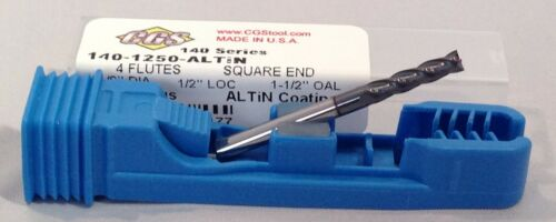 "ALTiN COATED !! 1//8/"" 4 FLUTE NEW 140-1250E-A /""CGS/"" CARBIDE END MILL !"