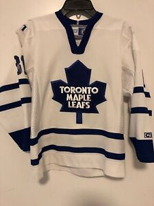 Vintage-Toronto-Maple-Leafs-Curtis-Cujo-CCM-NHL-Hockey-Jersey-White-Youth-S-M