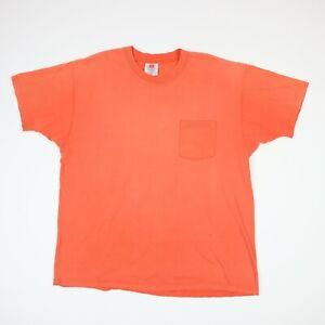 Vtg-Sun-Faded-Orange-Plain-Pocket-Hanes-Work-T-Shirt-Single-Stitch-Distressed-XL