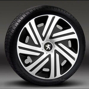 Black-Silver-15-034-wheel-trims-Hub-Caps-Covers-to-Peugeot-208-Quantity-4
