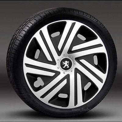 "cubre para Peugeot 208 Adornos de 15/"" Ruedas Negro cantidad 4 Tapacubos"