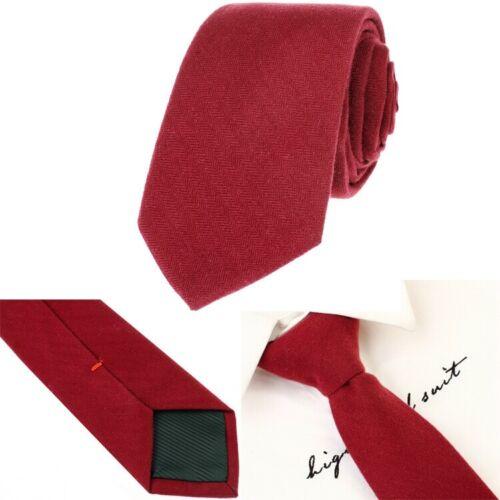 Men/'s Wool Plain Tie Necktie Slim Skinny Woven Black Wine Red Grey