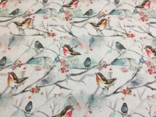 VOYAGE-SNOWY SONG Xmas Robin Cotton Fabric,Upholstery//Curtains//Cushions//Crafts