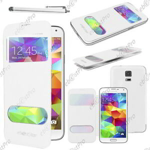 Details about Cover case etui s-view flip cover white samsung galaxy s5 sm-g900f stylus- show original title