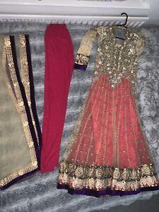 Pakistani-Indian-Gorgeous-Party-Wedding-Dress-UK-Size-8-10-UK-S-Pink-Beige