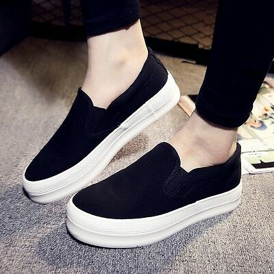 New Women Sneaker Platform Hidden Wedge Flat Slip On Creeper Sport Shoes Trainer