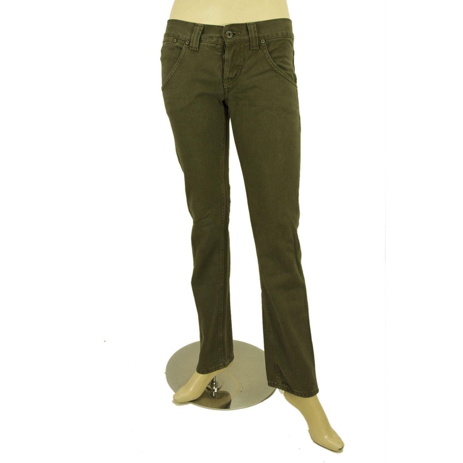 Dondup Olive Green Denim Jeans Slim Trousers Pants sz 26 P005 015 CLAY CARMEN