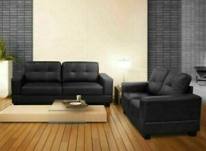 Details about NEW 3+2 Seater Set Jerry Modern Sofa Settee Black Brown Faux Leather High Back