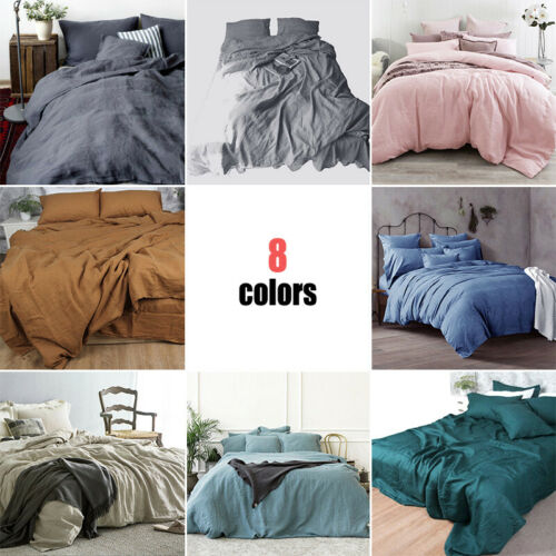 Soft Pure Linen Flax Bed Sheet Cover Pure Color Organic Natural Bedding Cosy New