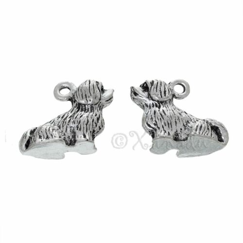 Lhasa Apso Dog Wholesale Antiqued Silver Plated 3D Charms C4299-2 5 Or 10PCs