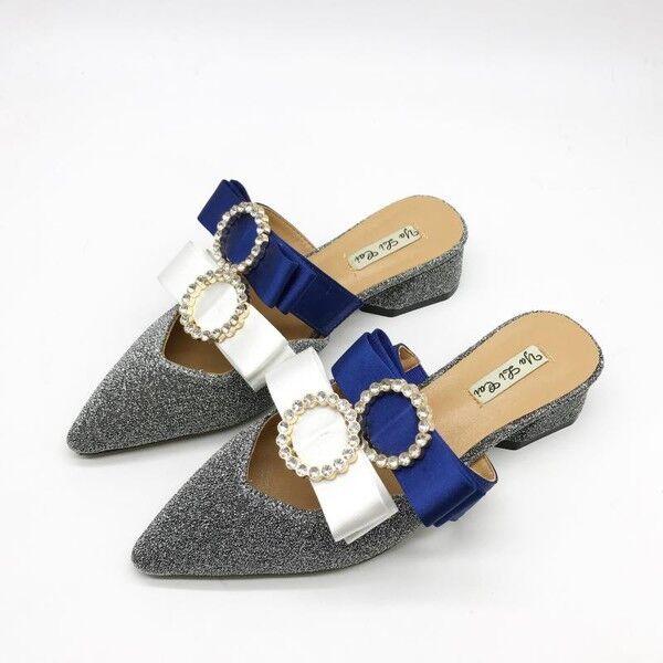 zapatillas elegantes zuecos azul plata plata azul estrellas suela cómodo como piel 9852 7f268f