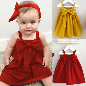 88a5e6c0b7e3a Details about 2017 Baby Girls Toddler Kid Summer Sundress Bowknot Short  Mini Vest Dress Outfit