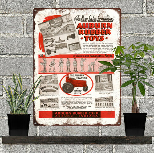 """1938 Auburn Rubber Toys Tractor Truck Man Cave Metal Sign Repro 9x12/"""" 60459"""