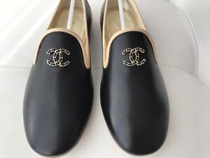 e5747953162a  750 CHANEL CC LOGO BLACK AND BEIGE LEATHER LOAFERS MOCCASINS SHOES ...