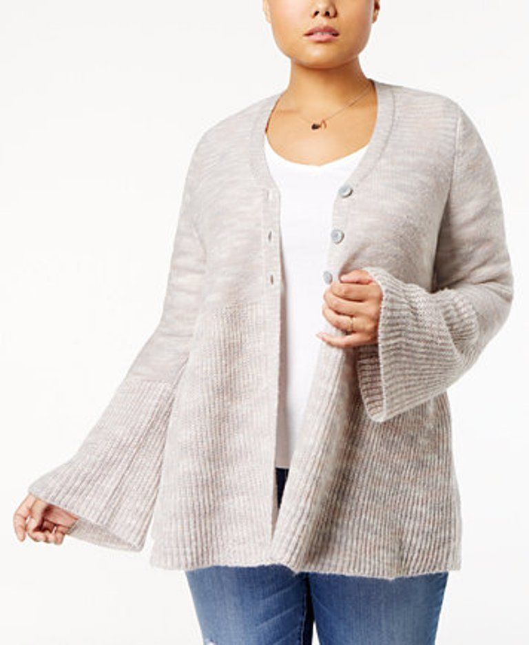 Style & Co. Bell Sleeve 3 Button Baby Doll Cardigan Sweater in Peony Grey, XXL