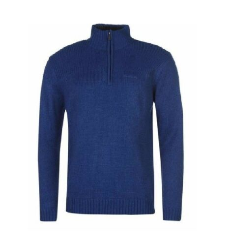 Mens Pierre Cardin Zip Neck Knitted Jumper Sweater Jersey Pullover XXL Blue