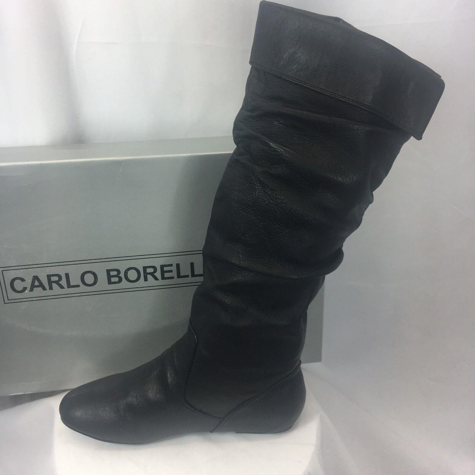 NIB New Carlo Borello Steven Knee High Pig Leather nero avvio