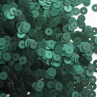6mm Flat SEQUIN PAILLETTES ~ DEEP Forest GREEN Matte SILK FROST ~ Made in USA