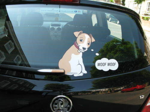 DOG LOVER'S DOG CAR REAR WINDSCREEN STICKER COLLECTABLE WITH WAGGING WIPER TAIL