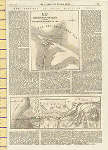 1869 MAP ~ PLAN OF HARBOUR OF PORT SAID & ENTRANCE TO CANAL ~ MARITIME CANAL