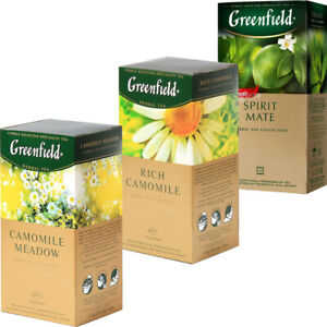 Herbal Tea Greenfield 25 intercalaires de nombreuses saveurs libre Expédition Mondiale