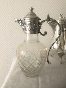 Aiguière Cristal Taillé Monture Métal Argenté GALLIA - CHRISTOFLE Carafe 27 cm