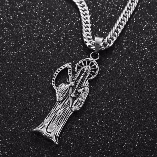 Holy Saint Death Santa Muerte Skull Biker Pendant Necklace Stainless Steel 24/'/'