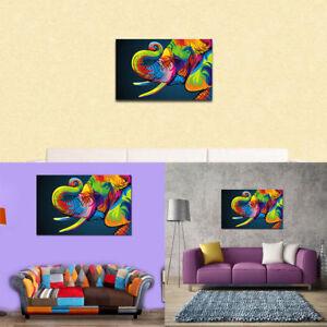 Détails Sur 1x Peinture L Huile Tableau Abstraite Moderne éléphant Motif Coloré Mur Décor Nf