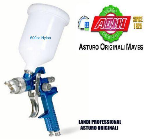 AEROGRAFO $ RICAMBI  ASTURO HVLP H-827 600cc NYLON UGELLO 1.4mm o 1,7 mm o 2.0mm