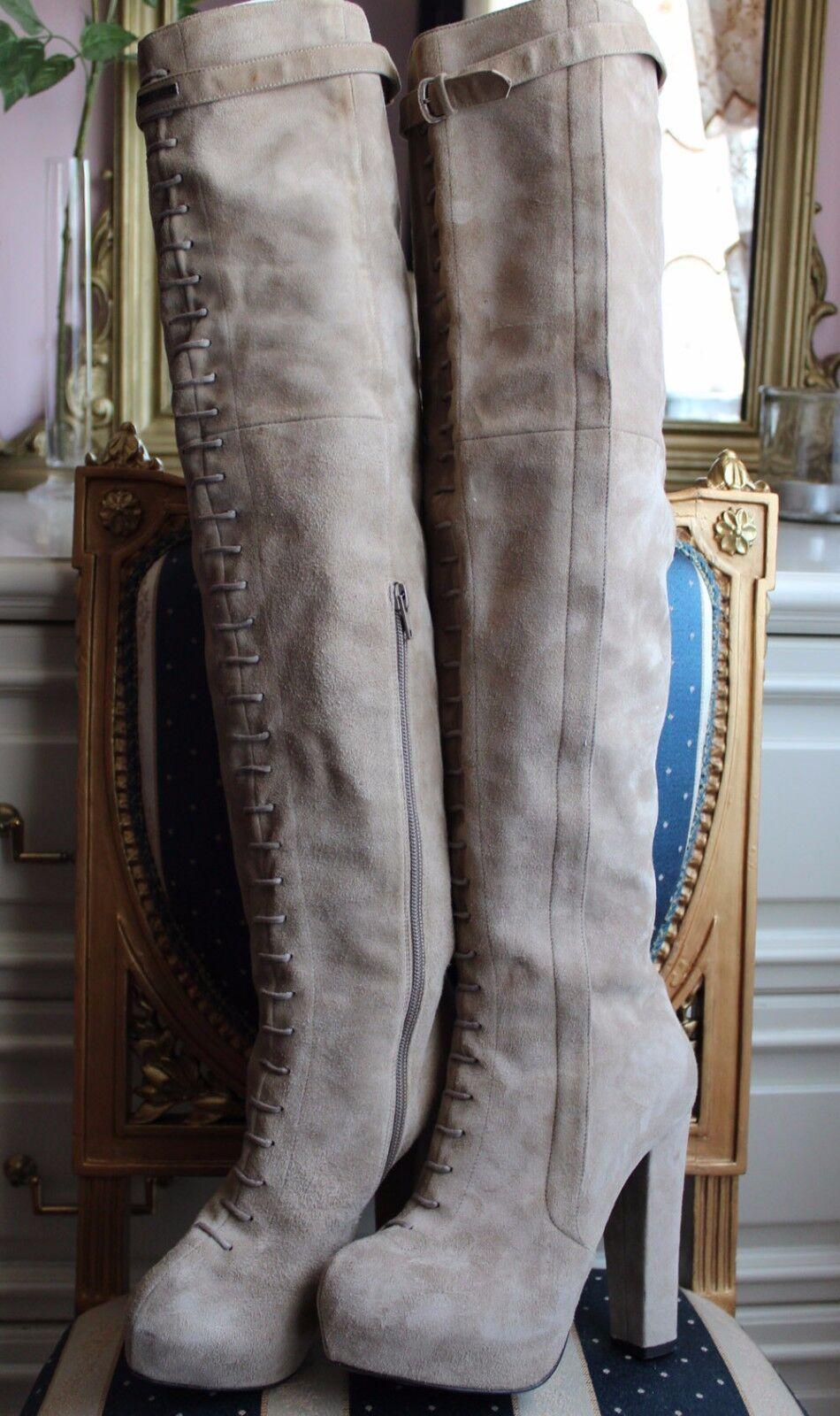 i nuovi stili più caldi Auth RICHMOND gothic beige suede high heels stivali over knee knee knee lenght 100% leather  prezzo all'ingrosso e qualità affidabile