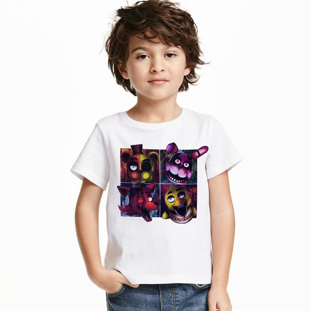 Five Night At Freddys Bears Cartoon Cotton Tops Casual T-Shirt Kids/Boys/Girls