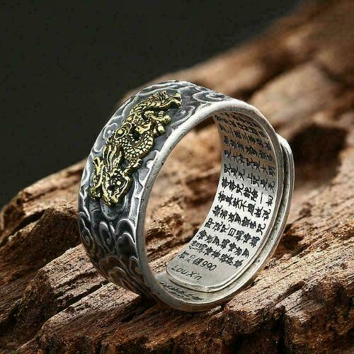 Pixiu Charms Ring Feng Shui Amulet Wealth Lucky Open Jewelry Ring A6O7 TI B Z4D5