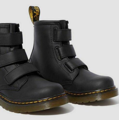 DR MARTENS Size UK 7.5 Black Leather JUNIOR 1460 STRAP T BOOTS NEW