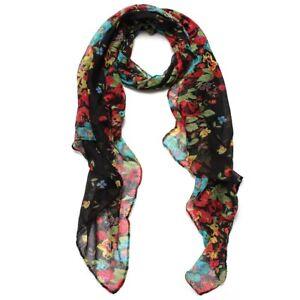 acheter bien acheter maintenant nouvelle arrivee Détails sur Noir Foulard Echarpe Chale Cheche Long Fleur Etole Floral Femme  Coton Scarf J8K6