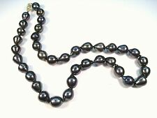 NATURAL 14KYG TAHITIAN BAROQUE PEARL NECKLACE with DARK GREEN & MAROON OVERTONES