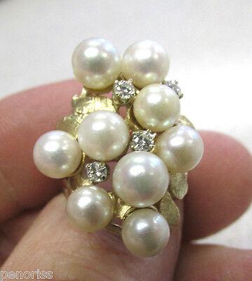 Beautiful Estate Heirloom  Pearl & Diamond Ring 14k Gold size 6-1/2  Make Offer