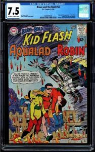 BRAVE AND THE BOLD #54 OWW CGC 7.5 ORIGIN & 1ST APP TEEN TITANS  #0284974018 S